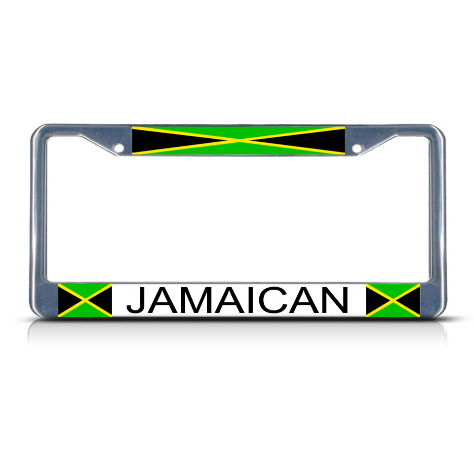Jamaica Jamaican Flag Metal License Plate Frame Tag Border