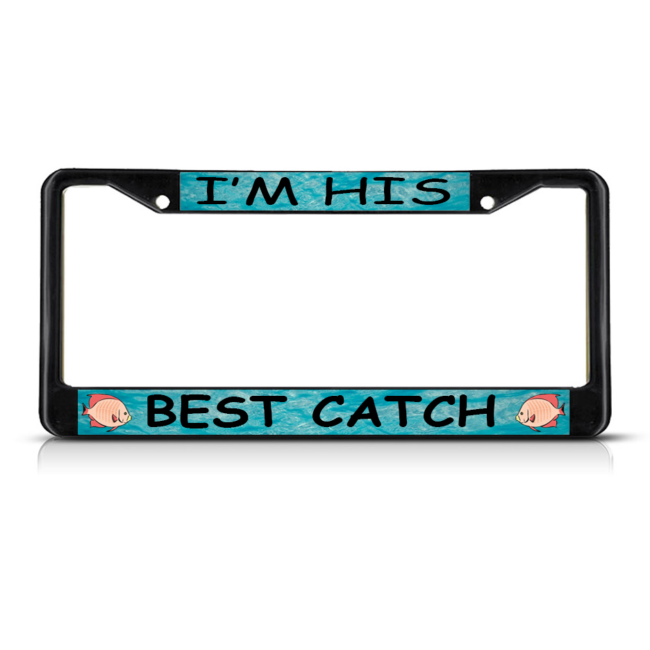 best catch fishing fish metal license plate frame tag