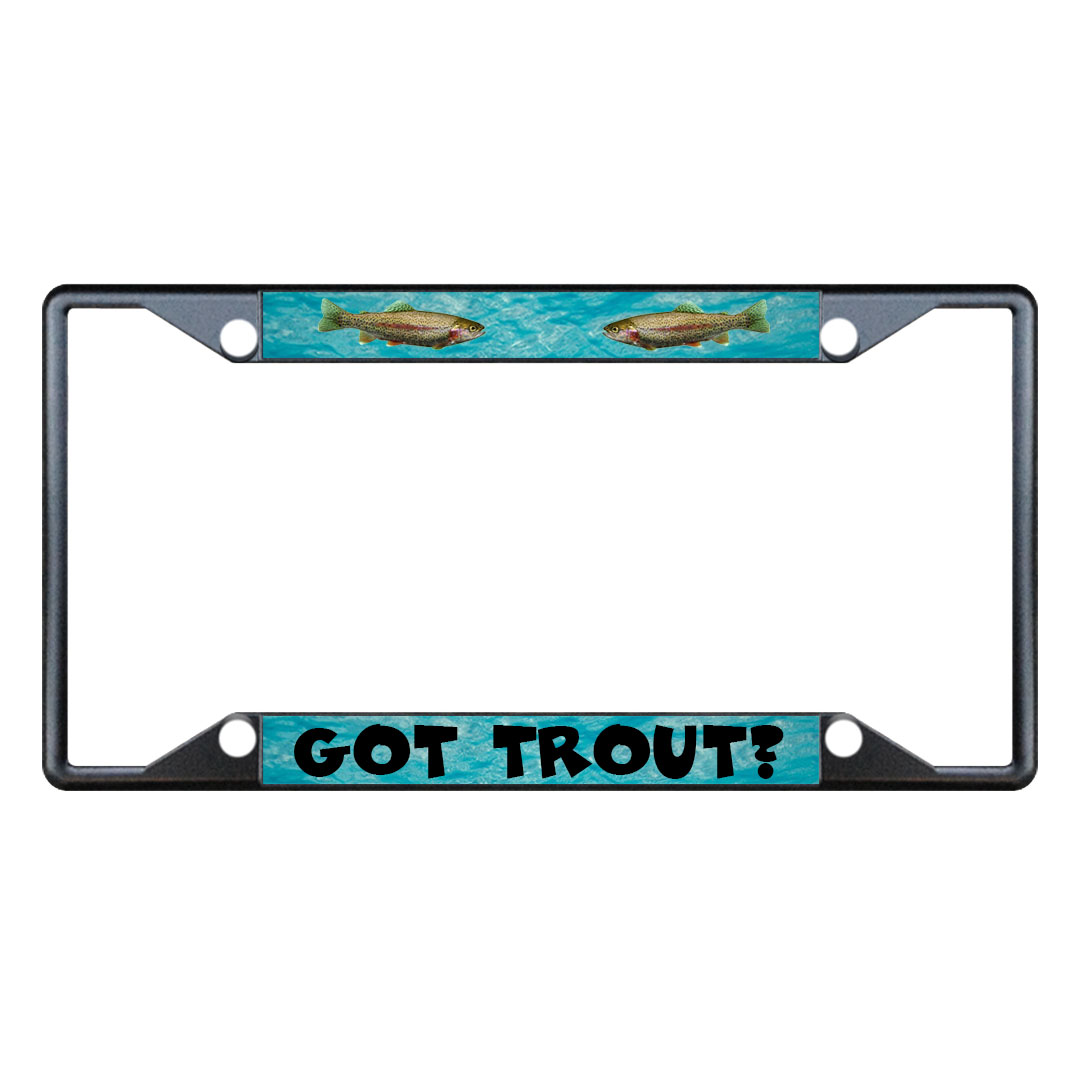 Got trout fishing metal license plate frame tag holder for Fishing license plate