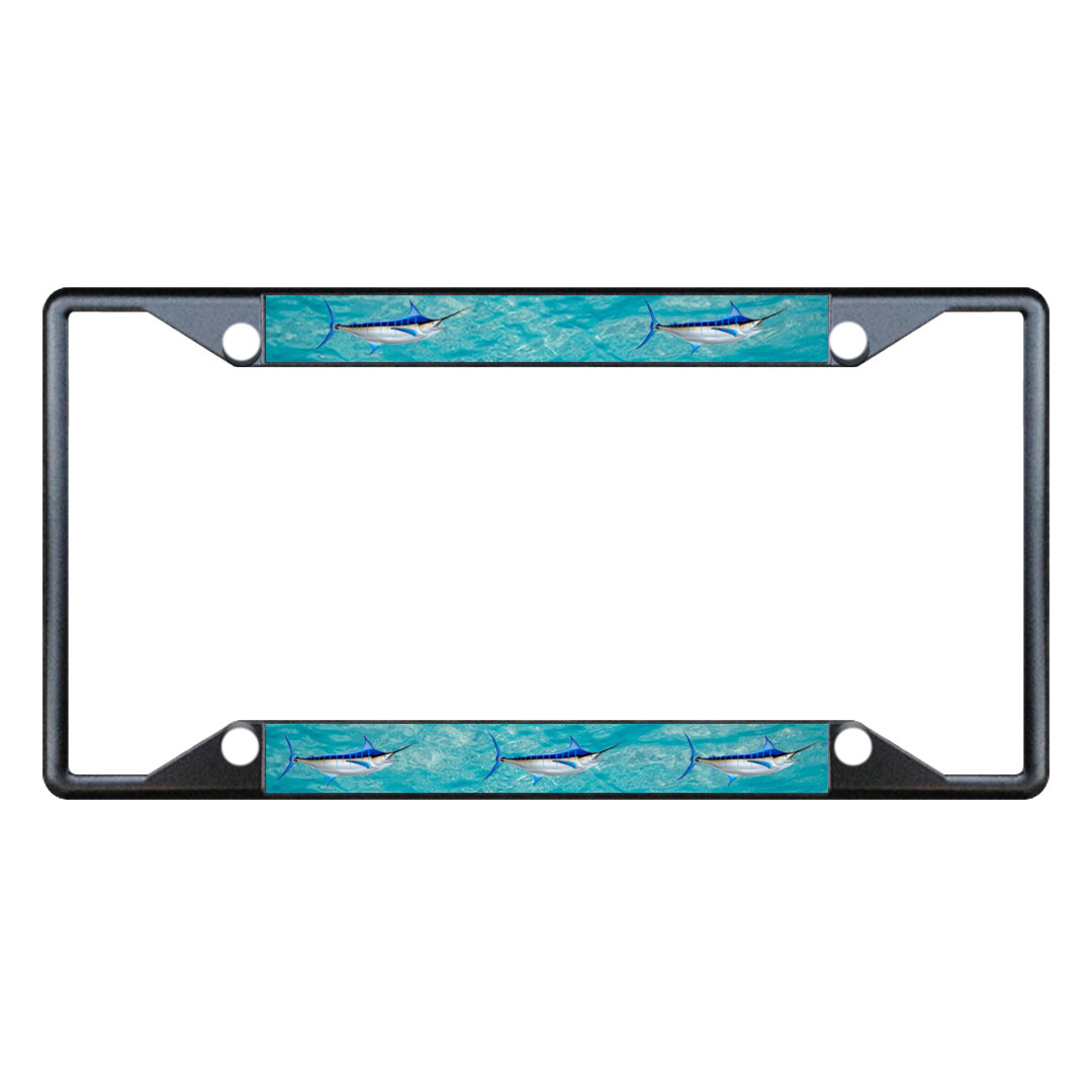 Marlin Fishing Metal License Plate Frame Tag Holder Four