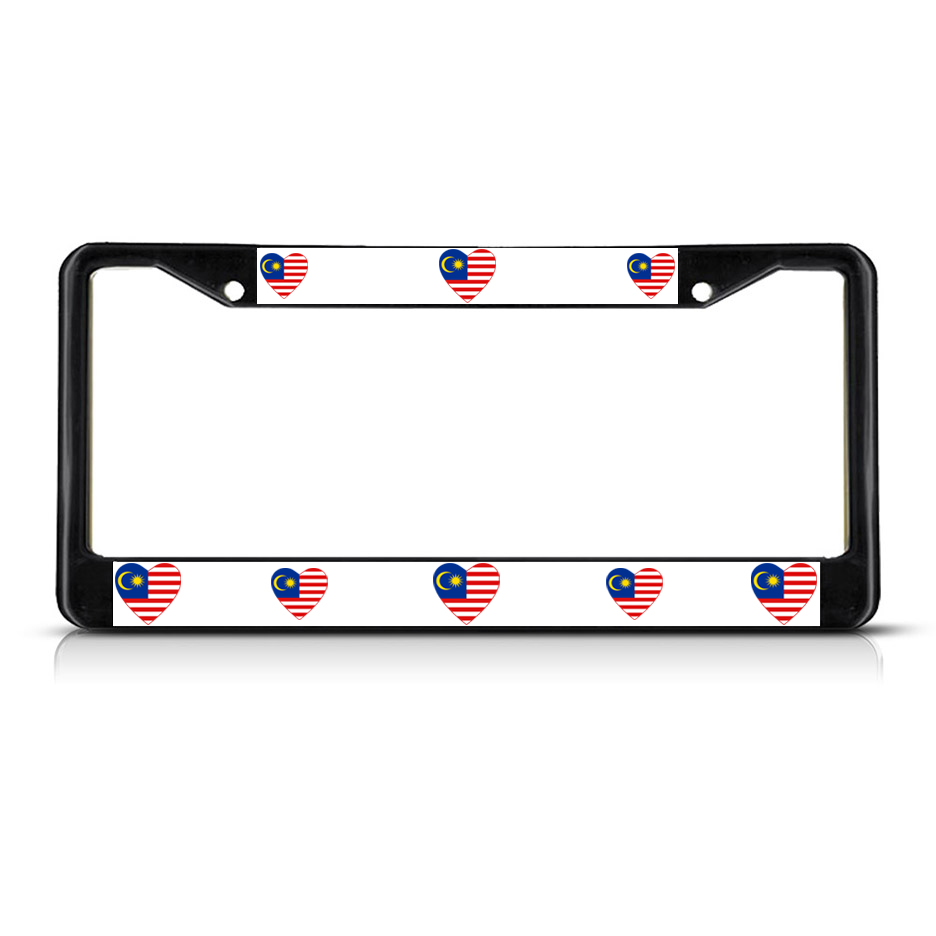 love heart malaysia country flag metal license plate frame tag
