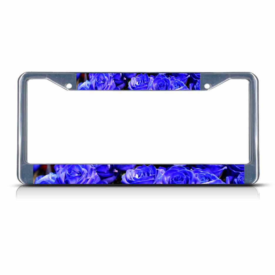 Eyeglasses Frame Holder : BLUE ROSE FLOWERS Chrome Metal License Plate Frame Tag ...