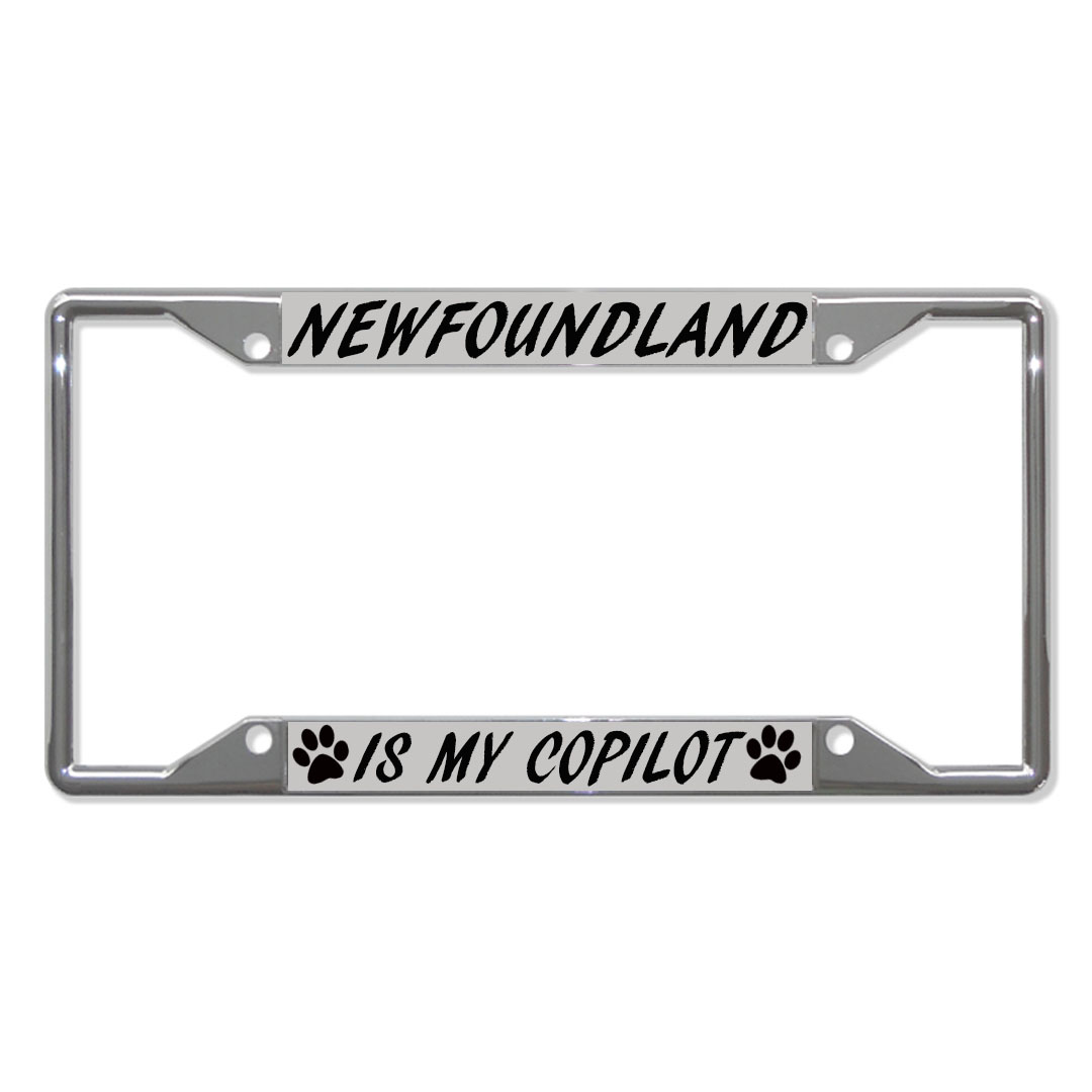 Newfoundland Dog Is My Copilot Dogs Metal License Plate