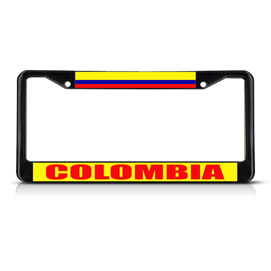 COLOMBIA FLAG Metal License Plate Frame Tag Border Two