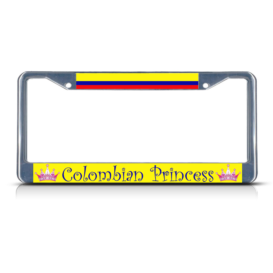 Colombia License Plate Frame: COLOMBIA COLOMBIAN PRINCESS Chrome Heavy Duty Metal